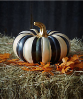Mackenzie Childs Hand-Painted Courtly Stripe Small Squash Pumpkin 9