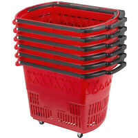 Shopping Basket 9 Gallon Trolley Rolling with Handle 4 Castors Red Pack of 6
