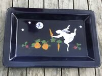 Karen Howell Pottery Dancing Rabbit Bunny Under the Stars Rectangular Tray