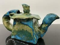 Vintage Glazed Ceramic Abstract Funky Art Pottery Unusual Teapot Pitcher Vase