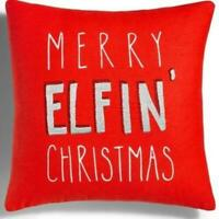 Merry Elfin Christmas Embroidered Decorative Pillow Red Macys Holiday Lane NWT