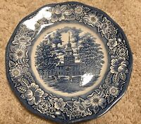 2 LIBERTY BLUE COLONIAL SCENES STAFFORDSHIRE IRONSTONE INDEPENDENCE HALL PLATES