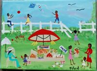 PRIMITIVE SOUTHERN FOLK ART ORIG. PAINTING 9X12  BY P.FORD FARM TO TABLE