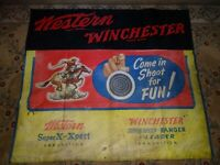 Vintage original Winchester Western ammunition Banner oil cloth extremely rare