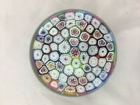 Large vintage millefiori glass paperweight red center cone