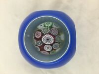 Cased cubed faceted cushioned Murano glass millefiori paperweight