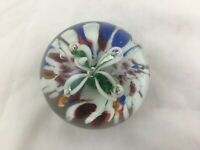 Vintage Murano style glass paperweight green flower and bubbles