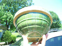 Vintage McCoy Pottery Yellow Ware #9 Waffle Style Green Mixing Bowl Hallmarked