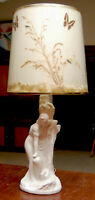 VINTAGE VAN BRIGGLE MOONGLO POTTERY LAMP REBECCA WELL ORIGINAL BUTTERFLY SHADE