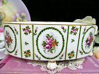vintage FRENCH Versailles porcelain painted roses footed planter floral bowl