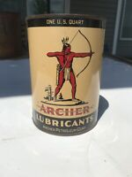 Vintage 1940s Archer Chief Aircraft Oil Full Quart Metal Can Airplane W/ Indian