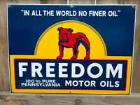 FREEDOM MOTOR OIL 100% PURE PENN. OIL  PORCELAIN SIGN LARGE SIZE GAS