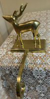 Vtg Heavy Solid Brass Gold Reindeer Christmas Stocking Mantel Holder 5 1/2
