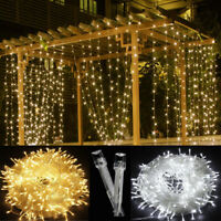 9.8x9.8 FT Fairy Hanging Window Curtain String Lights 300LED Outdoor Party Décor