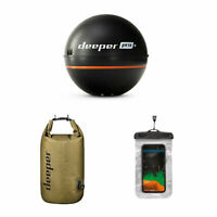 Deeper Pro Castable Fish Finder Sonar Bundle Dry Bag and Phone Case Open Box