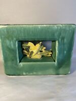 Beautiful Green & Yellow Gloss Vintage McCoy Rectangle Bird Planter Vase