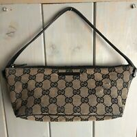 Vintage GUCCI Banana Bag - Small Navy Blue Leather Trim with GG Logo All Over
