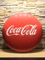 "Vintage And Rare Porcelain 36"" Coca-Cola Button Advertising Sign With Brackets"