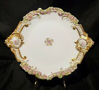 Antique Limoges Gilt Gold French Porcelain Scroll Plate Double Mark PHL Depose