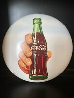 "Vintage Original Coca Cola Bottle Decal White 16"" Button Soda Sign Coke"