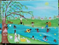 PRIMITIVE SOUTHERN  FOLK ART ORIGINAL PAINTING  BY P.FORD 9X12