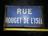 ANTIQUE Vintage French Porcelain RUE ROUGET DE LISLE Street Sign