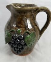SIGNED 01 JEFF AND SUSIE MEADERS GEORGIA FOLK ART POTTERY PITCHER GRAPE CLUSTER