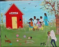 PRIMITIVE SOUTHERN FOLK ART ORIG. PAINTING  BY P.FORD 8X10  PHOTO SCHOOL HOUSE