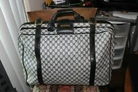 Vintage GUCCI BLUE GG Guccissima CANVAS LEATHER LUGGAGE SUITCASE W KEYS