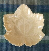 Vintage Belleek Irish Pottery Yellow Luster Leaf Dish Plate 5.5quot;
