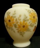 FENTON Ginger Jar NO LID Handpainted Daisies on Cameo Satin