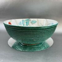 Vintage Green Textured Mid Century Italy Pottery Handpainted Centrepiece Bowl