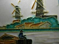 Vintage Embossed Delft Tile 4.5quot; X 4.5quot; Windmills Canal Boat Iconic Dutch Town