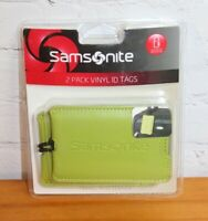 NEW Samsonite 2 Pack Vinyl Luggage ID Tags Neon Green New Travel Accessories