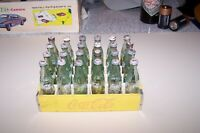 Vintage Coca Cola Miniature 24 Glass Bottles Caps Wood Case 6quot;x4quot;