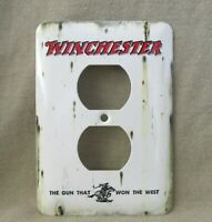 Winchester Metal Receptacle Cover New Rustic Old Tin Sign Look