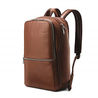 Samsonite Classic Leather Slim Backpack Brown One Size