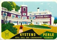 Kystens Hotel PERLE DENMARK Colorful Old Luggage Label circa 1955