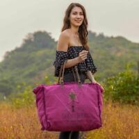 Myra Bag Popping Pink Travel Canvas Leather Large Weekender Tote Bag