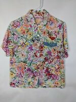 Pink Wheels Printed Floral Button Down Shirt Blouse Size L USA made