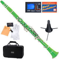 Mendini Bb Clarinet Green ABS Body +Tuner+Care Kit+Stand+11 Reeds+Case ~MCT-G