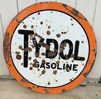 VINTAGE TYDOL PORCELAIN GASOLINE SIGN 42in DOUBLE SIDED
