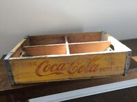 Vintage 1969 Yellow Coke Coca Cola Wood Divided Case Crate Savannah Tennessee