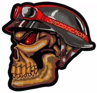 Speed Demon Red Eyed Skull Mens Embroidered Biker Patch Large Size FREE SHIP