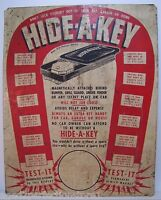 Vintage HIDE A KEY Advertising Sign metal store display Three Point Ind Chicago