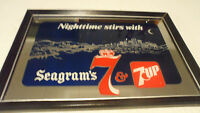 BEAUTIFUL RARE NIGHTTIME STIRS WITH SEAGRAM'S WHISKEY BEER MIRROR SIGN ONLY 1