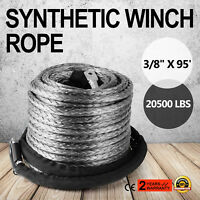 """3/8"""" X 95' GRAY Synthetic Winch Line Cable Rope 20500+ LBs with Sheath (ATV UTV)"""