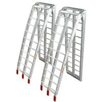 Pair Aluminum Lawnmower ATV Truck Loading Ramps 7.5' Arched Folding 90