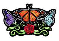 Womens Beautiful Butterflies, Rose Butterfly Large Embroidered Patch FREE SHIP