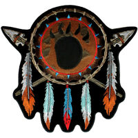 Native Indian Feathers, Bear Paw Biker Patch FREE SHIP